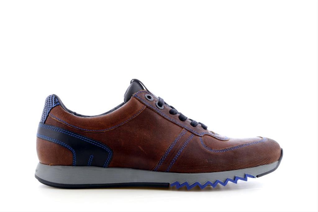 Floris van Bommel Heren Casual Sneaker Donker Cognac Leer 1427909