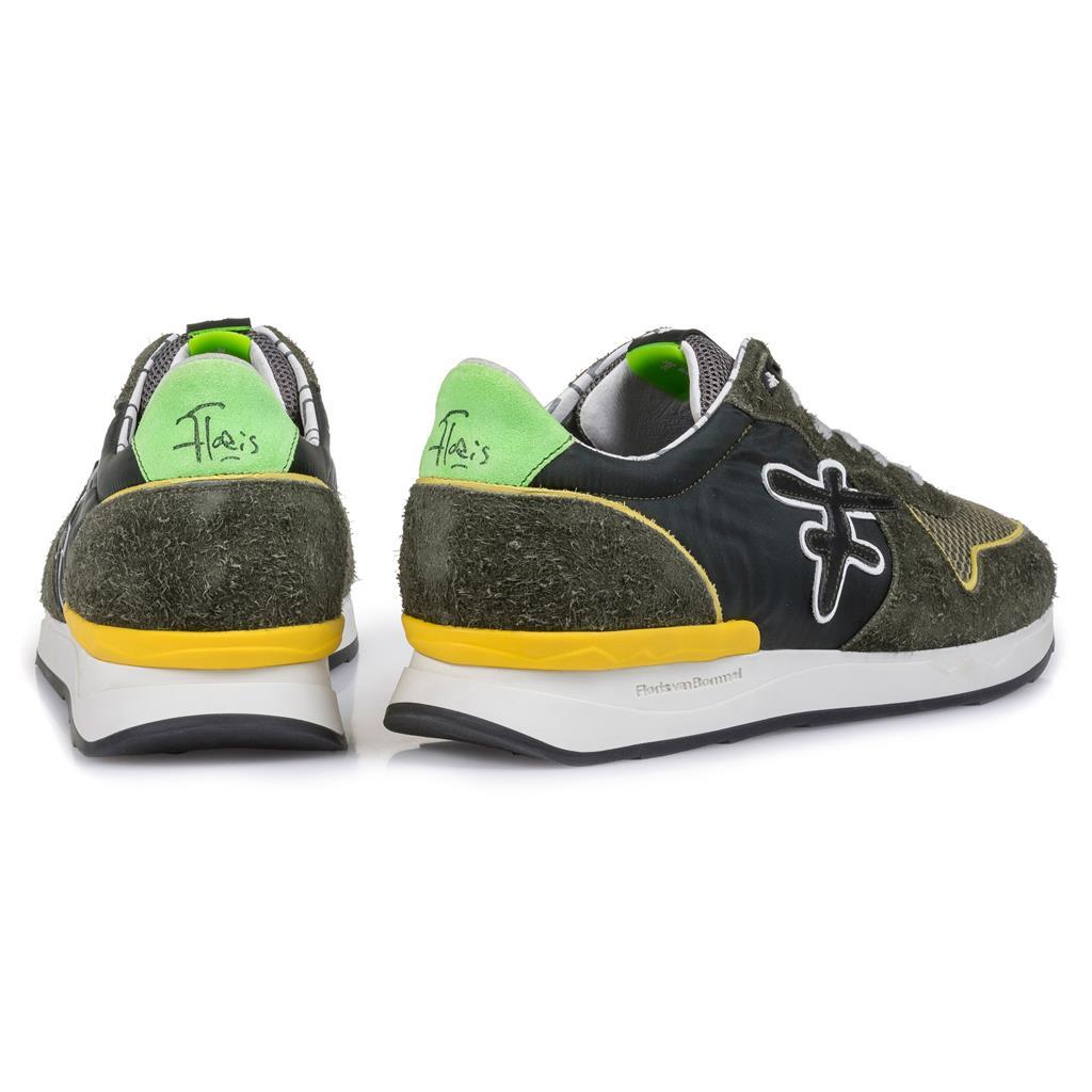 Floris van Bommel Heren Sport Sneaker Donker Groen Textiel 1624602