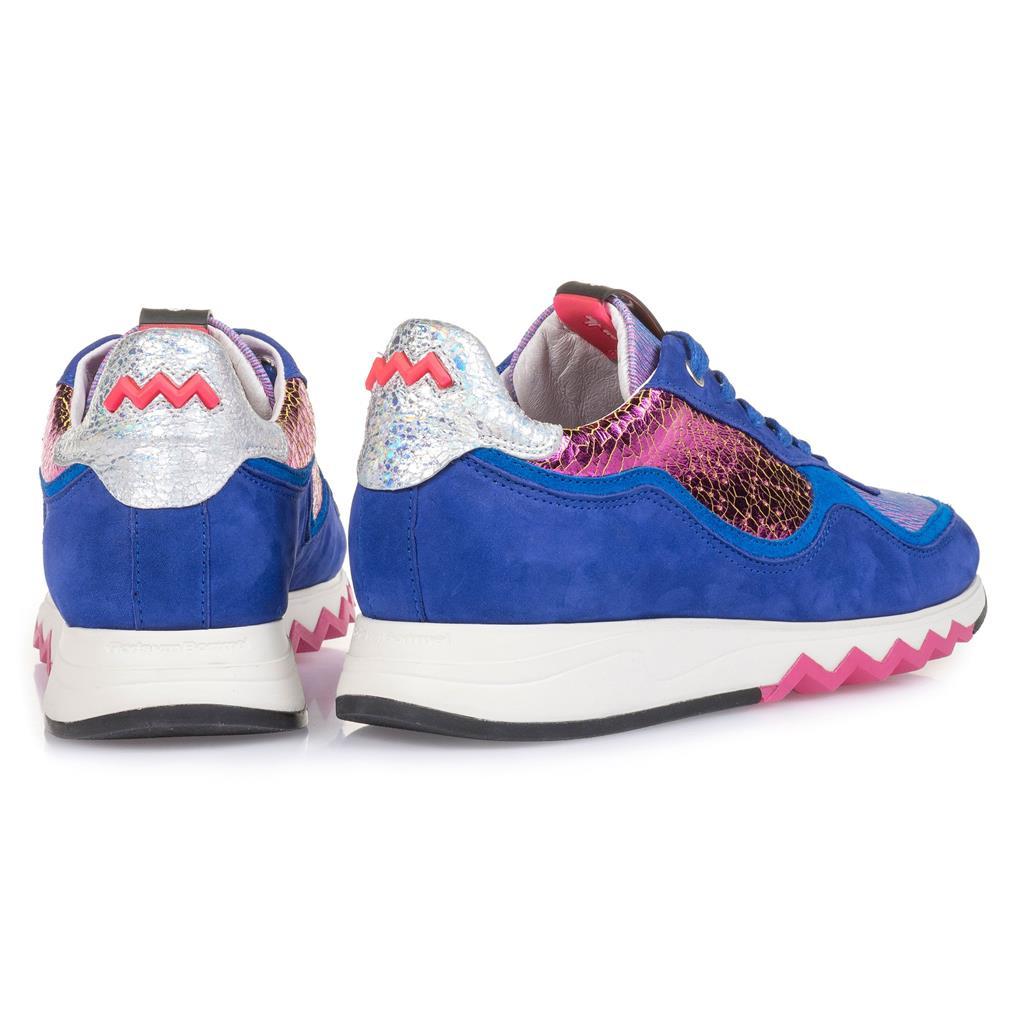 Floris van Bommel Dames Sport Sneaker Kobalt Blauw Nubuck met Fuchsia metallic leer 85265