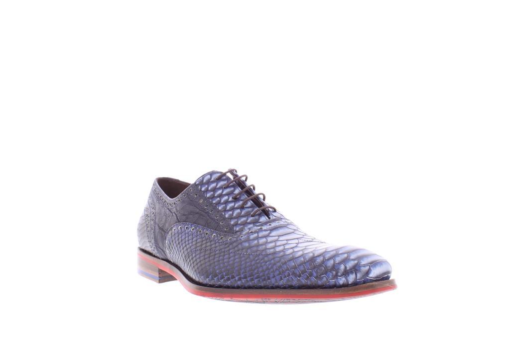 casual schoen hoog blauw glad leer heren